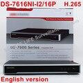 En stock DS-7616NI-I2/16 P versión Inglés 16ch NVR con 2 SATA y 16 puertos POE, HDMI VGA plug & play POE NVR 16ch VCA H.265