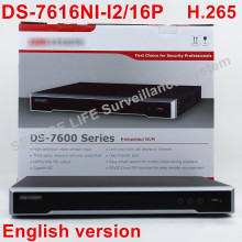 In stock DS-7616NI-I2/16P English version 16ch NVR with 2SATA and 16 POE ports, HDMI VGA  plug & play NVR POE 16ch VCA H.265