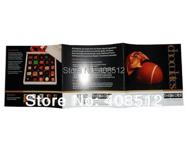 custom design open size 375x125mm full color flyers z fold brochure