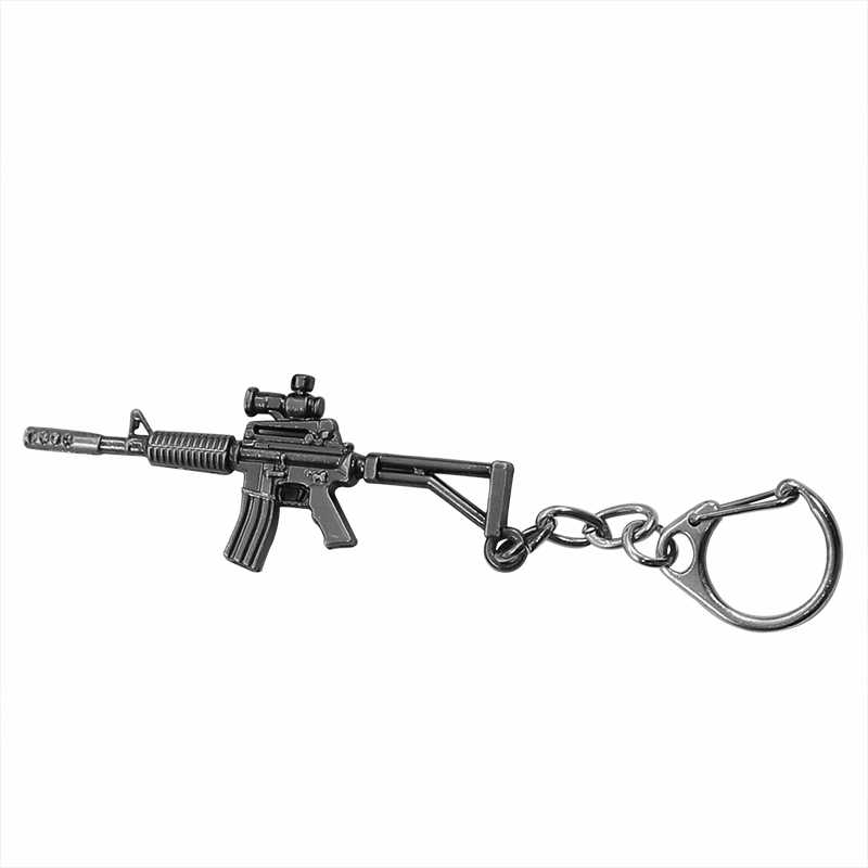 Punk Simulation Weapon Model Keychain For Men Male Mini M4A1 AK47 Gun Key Chain Car Keyring AWP Rifle Sniper Cool Mens Jewelry