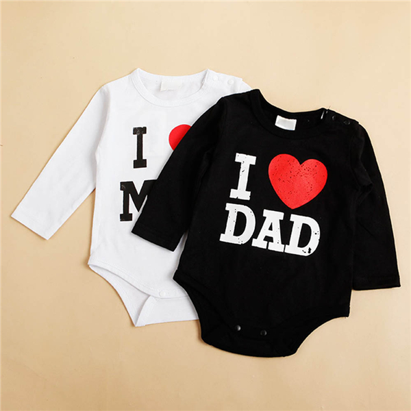 I Love MOM/DAD Printed Infant Toddler Baby Girl Boy Romper Jumpsuit Clothes Shirt lovely toddler first walkers baby boys and girls cotton shoes soft bottom hook sneakers i love mom dad