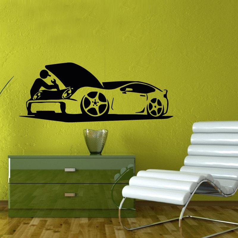 Auto Car Repair Shop Wall Sticker font b Home b font Decor Living Room Removable Vinyl