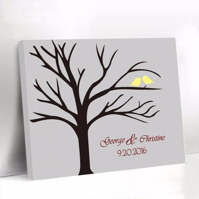 personnalis livre d 39 or avec jaune oiseaux gris toile arbre d 39 empreinte digitale de mariage. Black Bedroom Furniture Sets. Home Design Ideas