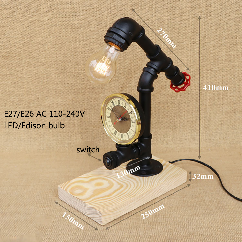 Loft Industrial vintage nature wood base steam punk table lamp E27 light modern reading desk lamp for study bedroom workroom