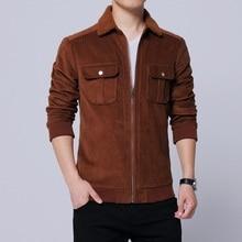 2019 autumn new mens corduroy jacket fashion casual lapel large size S-5XL brown cotton wild
