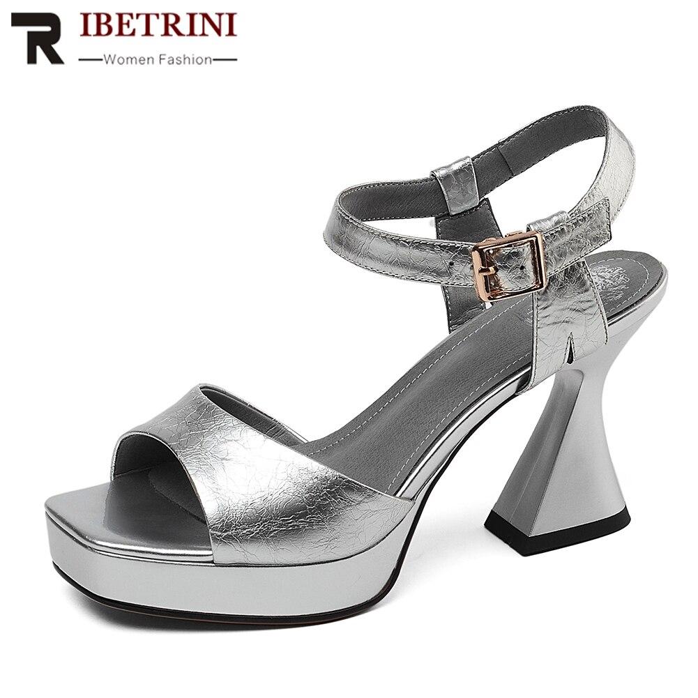RIBETRINI 2020 Fashion Cow Patent Leather Shoes Sandals Women Summer Platform Hoof High Heels Sandals Women Shoes Woman