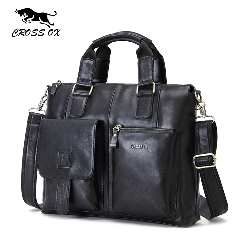 CROSS OX 2017 HOT Spring New Genuine Wax Leather Men's Satchel Handbags For Men Shoulder Bags Briefcase 15' Laptop Bag HB563M