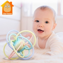 Baby Rattles Ball Toys Silicone Teether Newborns Music Hand
