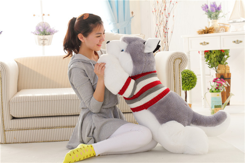 big lovely plush lying Husky dog doll cute stripe sweater husky dog doll gift about 100cm 0169 stripes sweater design prone husky largest 165cm gray husky dog plush toy sleeping pillow surprised christmas gift h907