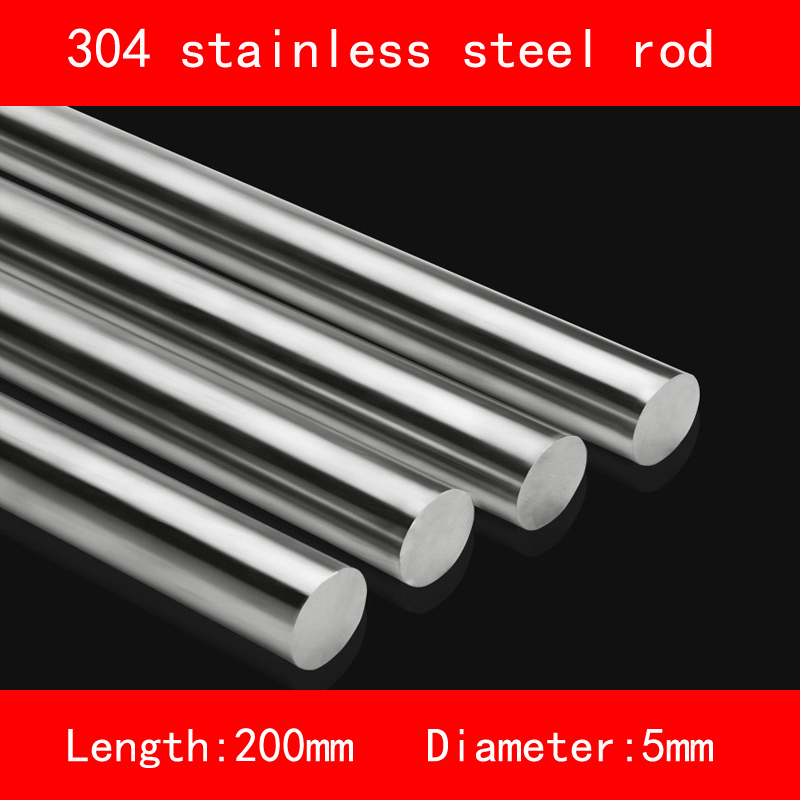 Smooth surface 304 Stainless steel rod diameter 5mm length 200mm 2pcs pc029 diameter 3 4 5mm stainless steel axle length 200mm steel shaft toy axles model accessories anti pressure antirust