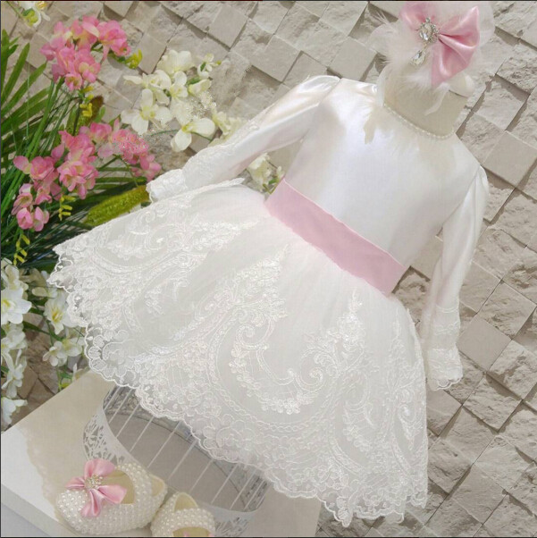 New fashion white lace girl prom gown long sleeve O-neck and pink bow sash ball gown flower rocks for first communion cute new long sleeves white ball gown flower girl dresses french lace beaded first communion dress with sequin bow and sash