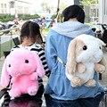 Longa-pêlo de coelho brinquedos de pelúcia saco coelho dos desenhos animados saco de escola das crianças dos desenhos animados das senhoras branco bolsa de ombro jardim de infância