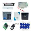 Rfid teclado puerta de control de acceso + cerradura magnética electrónica + fuente de alimentación + rfid + timbre de la puerta + touch botón de salida + control remoto