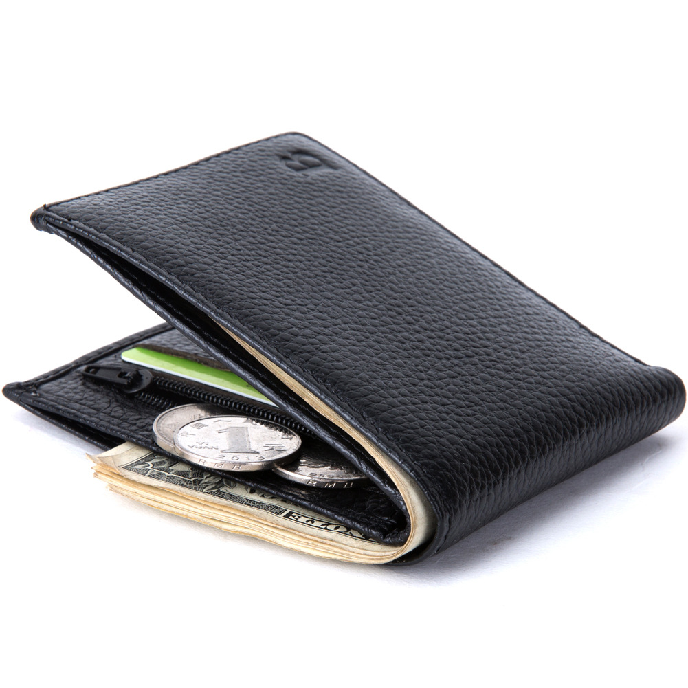 Men Male Genuine Real Leather Short Bifold Minimalist Slim Wallet Zipper Coin Purse Credit Bank Card Case Pouch Summer Wallets