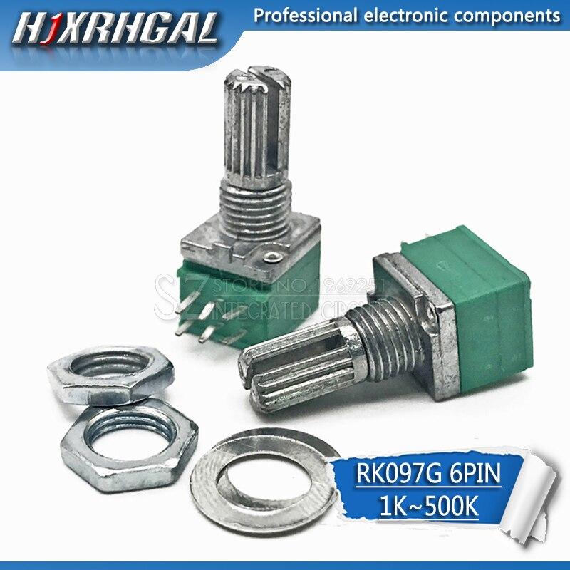 2 шт. RK097G 5K 10K 20K 50K 100K 500K B5K с переключателем аудио 6pin вал 15 мм усилитель уплотнительный потенциометр hjxrhgal
