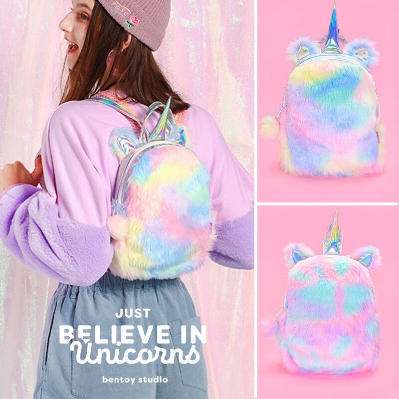 Bentoy Laser Hologram Backpacks Velvet Soft Rainbow Backbag Pink Sweet Girls Daughter Gifts 12 Inch Backpack Unicorns Backpack