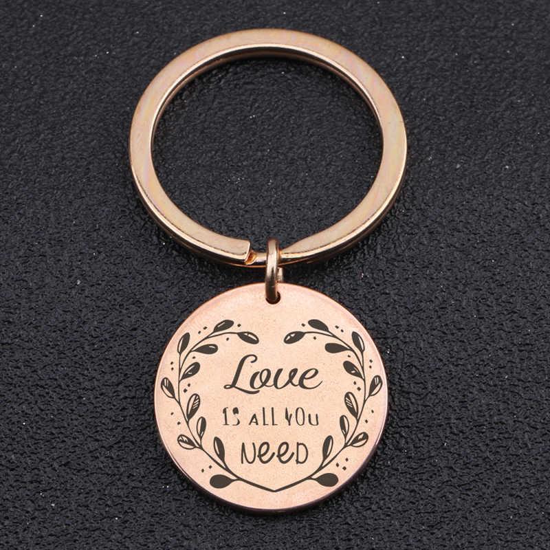 Vòng Keychain Khắc Tình Yêu Là Tất Cả Các Bạn Cần Stick Hình Hình Trái Tim Lá Unisex Vòng Chìa Khóa Quyến Rũ Giữ Đồ Trang Sức Tag