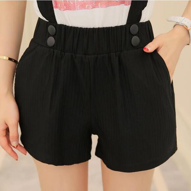 S ~ XL Cintura Elástica Más Tamaño Para Mujer Pantalones Cortos Pantalones Cortos de Cintura Alta Blanco/Gris/Negro Pantalones Cortos de Mujer Trajes pantalones cortos de Verano 2016 de La Moda