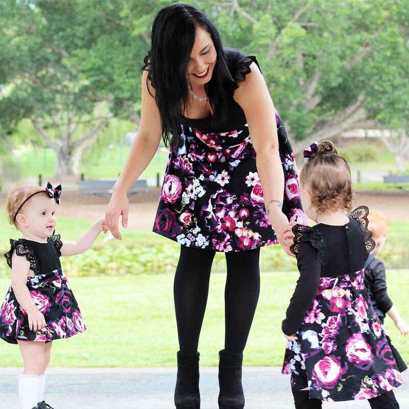 Newborn Kids Baby Girl Sister Floral Jumpsuit Romper Wedding Princess Dress Sets