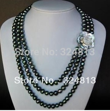 Free shipping@@@@@ Noble 3row 7-8mm Black Pearl Necklace a