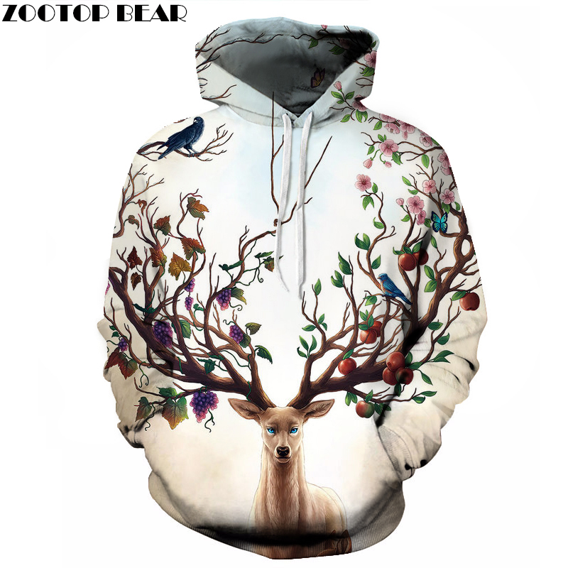 New Of 2018 Most Beautiful Forest, Deer Head Tree 3D Printing Men Hooide, Fashion Trend Brand Men Women Hoodies,Asian Size S-6XL