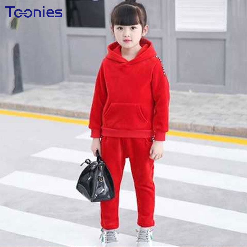 Pants Suit for Boys Girls 2018 Winter Children Suits Warm New Fashion Letter Printed Kids Sportswear Hooded Clothing Sets Casual autumn winter boys girls clothes sets sports suits children warm clothing kids cartoon jacket pants long sleeved christmas suit