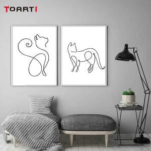 Image 4 - Минималистичные печатные плакаты с животными, забавная Картина на холсте с котом на стене для детей, питомник, спальня, домашний декор, Современные художественные картины
