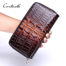 CONTACT'S Genuine Leather Men's Wallets Large Capacity Double Zipper Brand Design Casual Male Clutch Wallets With Card Holder