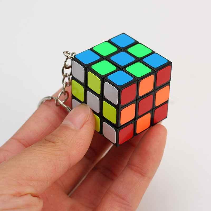 ミニ 3 × 3 × 3 マジックキューブキーホルダーペンダントスピードツイストパズルゲーム教育学習玩具 3 センチメートル