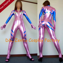 Free Shipping DHL Halloween Costumes For Women Gundam Costume Adult Shiny Metallic Zentai Catsuit Costume SHS812