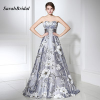 SarahBridal 2017 Princess Sweetheart Empire Prom Dresses Long Floral Print Ball Gown Gala Dress Women Red