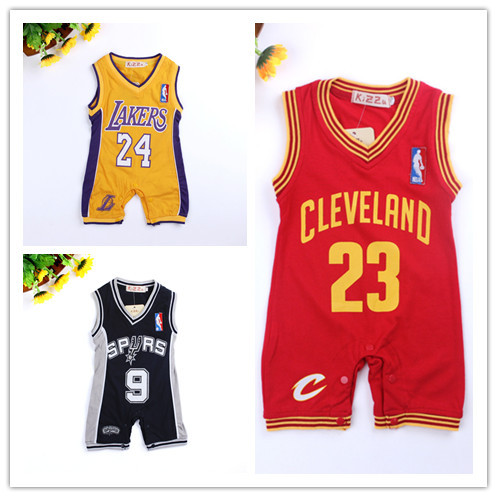 Retail summer style new jersey design baby romper basketball baby jumpsuit newborn kids clothes boys drop shipping in rompers from mother kids on