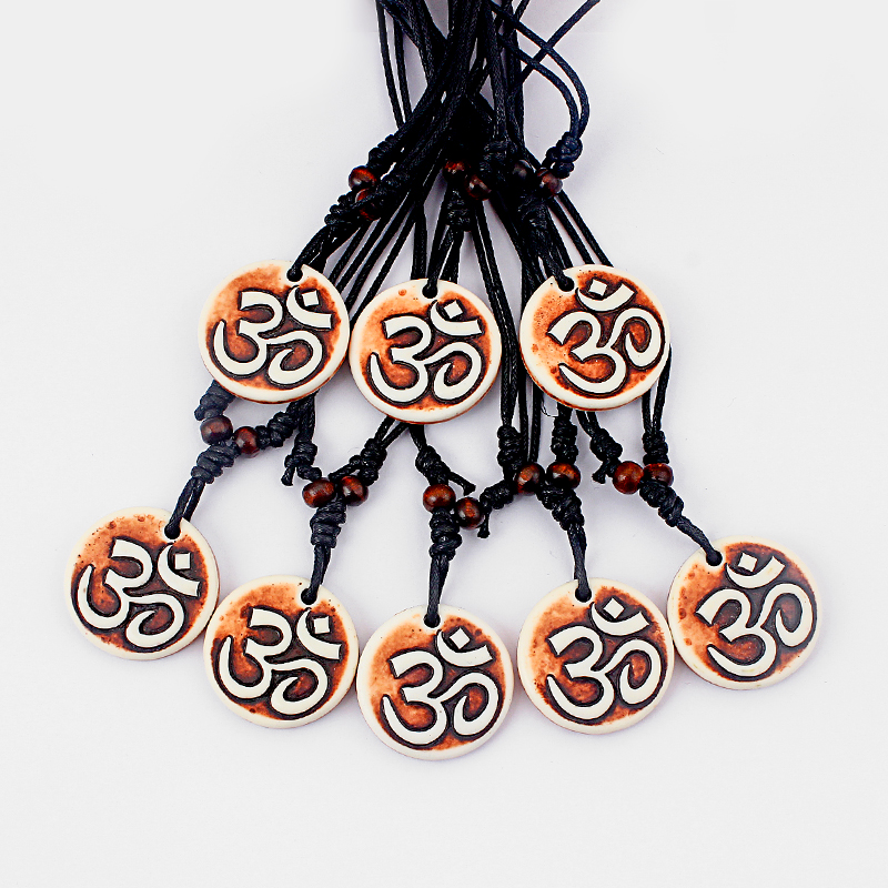 12pcs Tibet Yak Bone AUM OM OHM Symbol Yoga Engraved Amulet Lucky Brown Pendant Necklace Adjustable Gift Jewellery