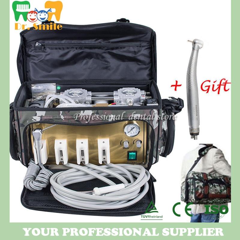 Portable Dental Turbine Unit Air Compressor Suction 3 Way Syringe Bag dental portable turbine unit 3 way syringe 4 hole bottle work w compressor