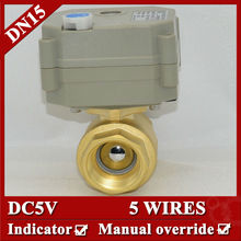 """1/2""""  electric valve 2 Way Brass Motor Valve with manual override DN15 DC5V 5 wires"""