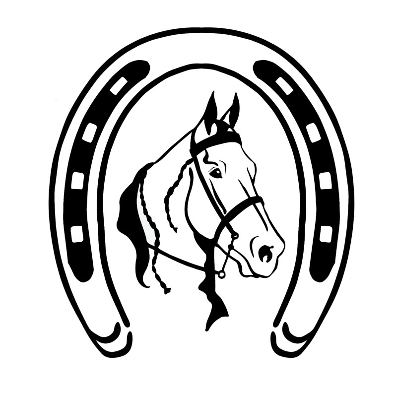 18.8*20.3 cm ferradura e clássico cabeça de cavalo carro corpo decalque criativo etiqueta do carro preto/prata S1-2081