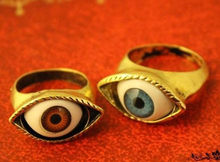 Vintage Retro Europe Punk Gothic Exaggerated Vampire Blue Bronze Eye Rings for women(China)