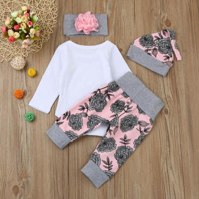 ARLONEET Baby Girl Clothes Winter Soft Newborn Infant Baby Girl Letter Romper Floral Pants Hat Outfits Sets E30 Jan18