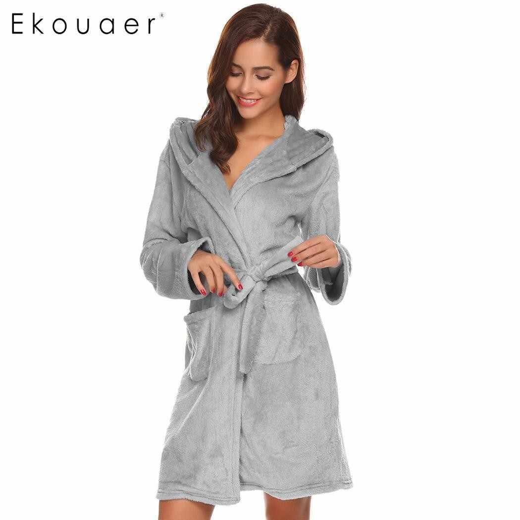 9682c8f6 ... Ekouaer bata suave para mujer albornoz con capucha de felpa de manga  larga abierta frontal batas ...