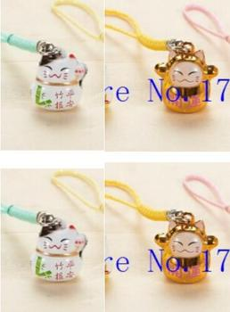 New 150 pcs Cute Lucky cat  key chains Cartoon Cell Phone Strap Bell Charm Gift