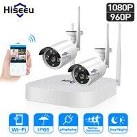 Hiseeu 4CH 960P/1080P камера видеонаблюдения система 2 шт. 1.3MP 2MP видеонаблюдение комплект уличное wifi видеонаблюдение для дома