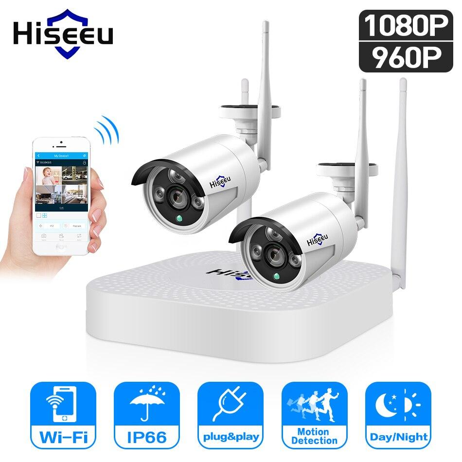 Hiseeu 4CH 960P/1080P Wireless CCTV camera System wifi 2pcs 1.3MP 2MP waterproof IP camera outdoor security kit cctv extendable