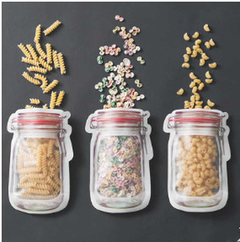 5pcs Hot mason Bottles Plastic Bags Nuts Cookies Candy Snacks Convenient Sealed PE Plastic Bag Home Decoration Storage Supplies