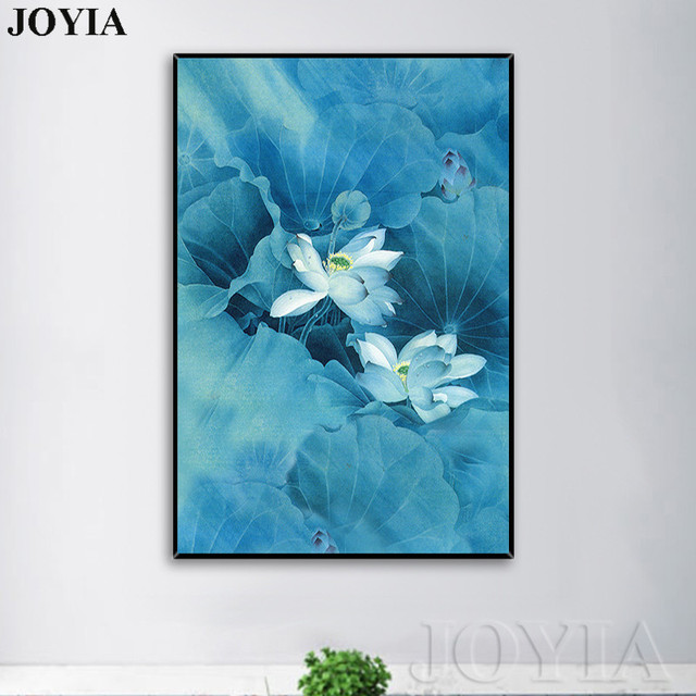 Blue Lotus Wall Art Canvas Artistic Asian Chinese Calligraphy