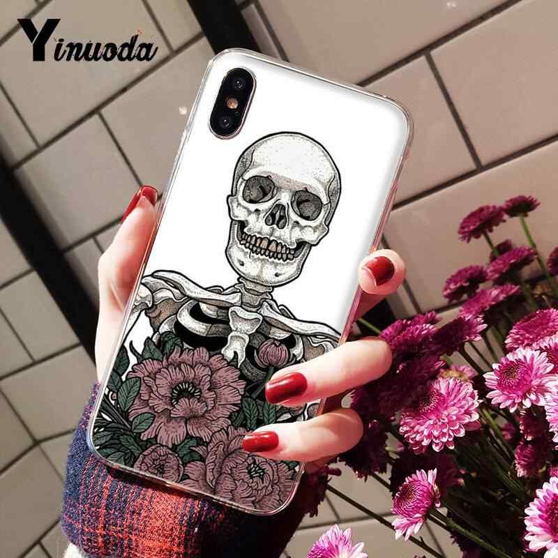 Yinuoda kafatası çiçek çiçek estetik sanat telefon kapak iPhone 6S 6 artı 7 7 artı 8 8 artı X Xs MAX 5 5S XR 10 11 11pro 11promax