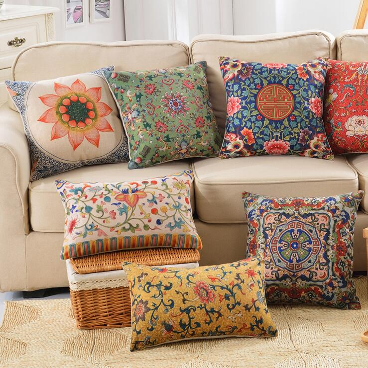 Vintage chinese lotus cushion cover oriental style sofa for Chinese style sofa