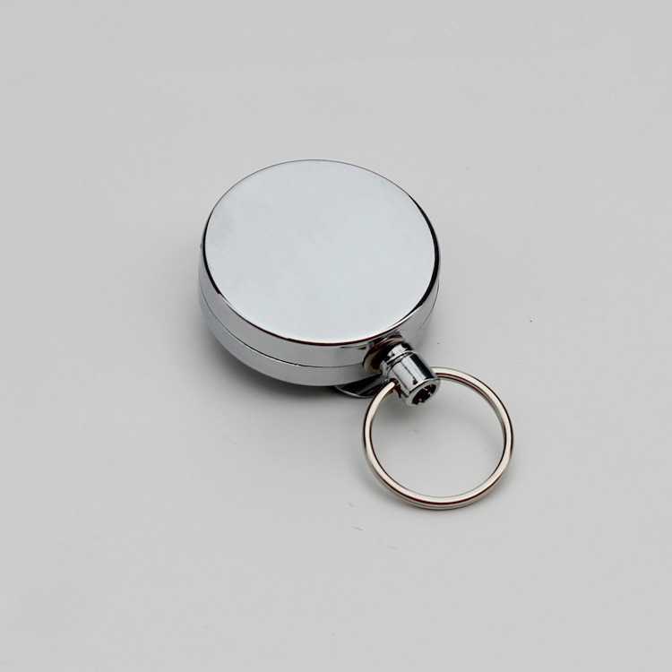 1pcs New Arrival Metal Pull Retractable Badge Reel Key Holder ID Name Tag Card Badge Holder With Stainless Steel String