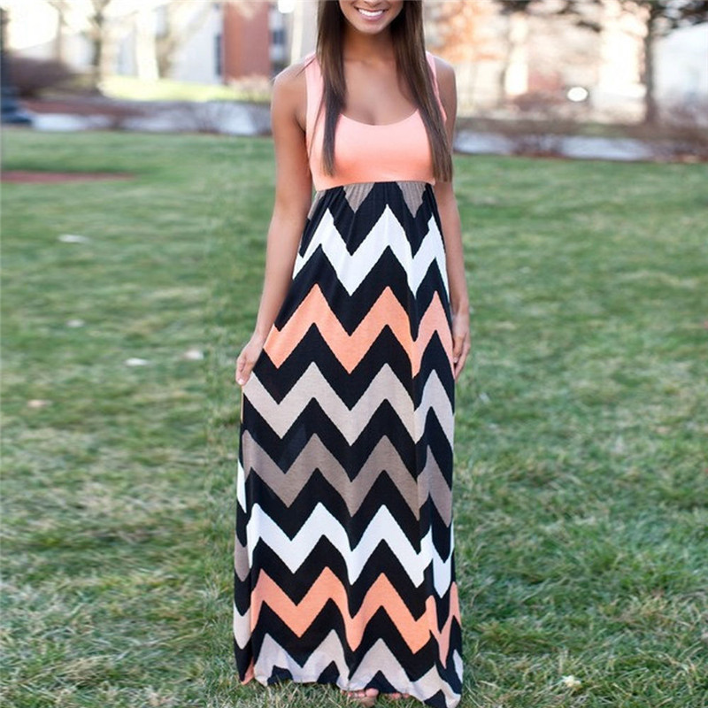 Women Summer Beach Boho Maxi Dress 2018 High Quality Brand Striped Print Long Dresses Feminine Plus Size 3