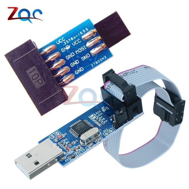 10 Pin om Standaard 6 Pin Adapter Board + USBASP USBISP AVR Programmer USB ATMEGA8 ATMEGA128 ATtiny/KAN/PWM Voor Arduino