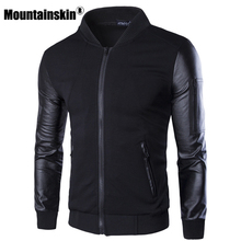 Mountainskin Bomber Jacket Men s Coats Patchwork Leather Men Outerwear Autumn Slim Fit 2017 Brand Male
